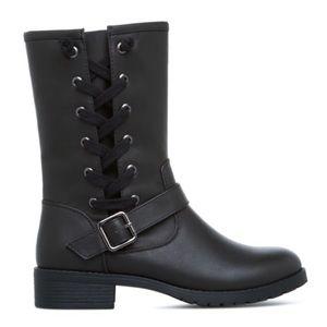 NIB Shoe Dazzle Black Faux Leather Mid-shaft Boots